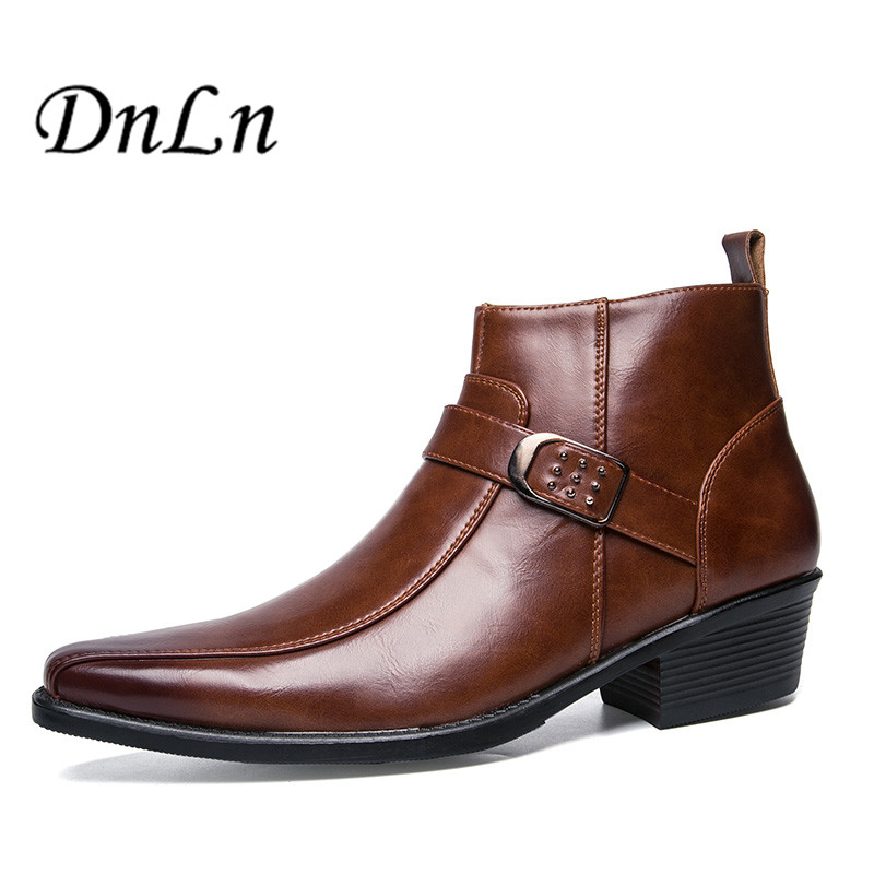 Men Pointed Toe Shoes Fashion Classic Business Shoes Male Office Formal High Heel Dress Shoes 25D50