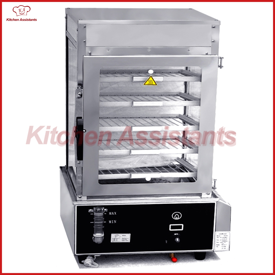 R600L gas bread bun food steamer display showcase with surrounded toughened glass