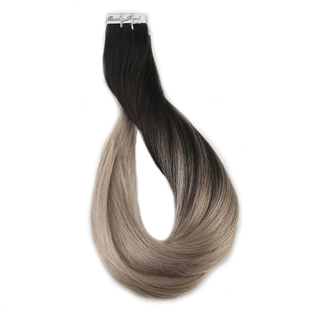 Full Shine Ombre Tape In Hair Extensions Human Hair Machine Remy Hair Extensions #1B Fading To 18 Ash Blonde Glue On Hair 20 Pcs