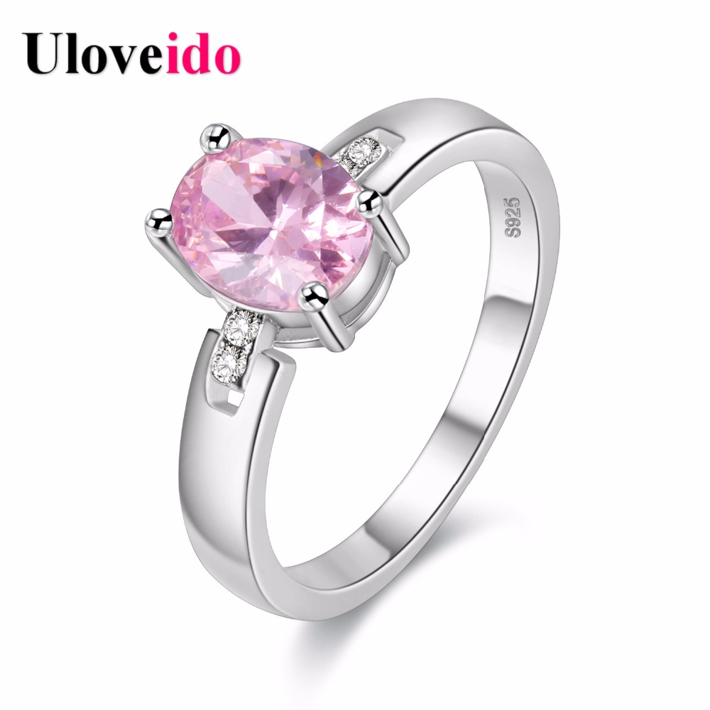 Uloveido Pink Rings for Women Bijouterie Wedding Ring Crystal Jewelry Sale Black Friday Anel Masculino Gifts 15% off Y3368