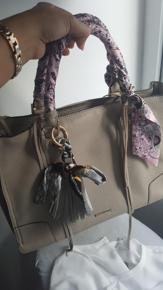 9 Colors Silk Ribbon Scarves Key Holder Bowknot Vegan Leather Tassels Keychains