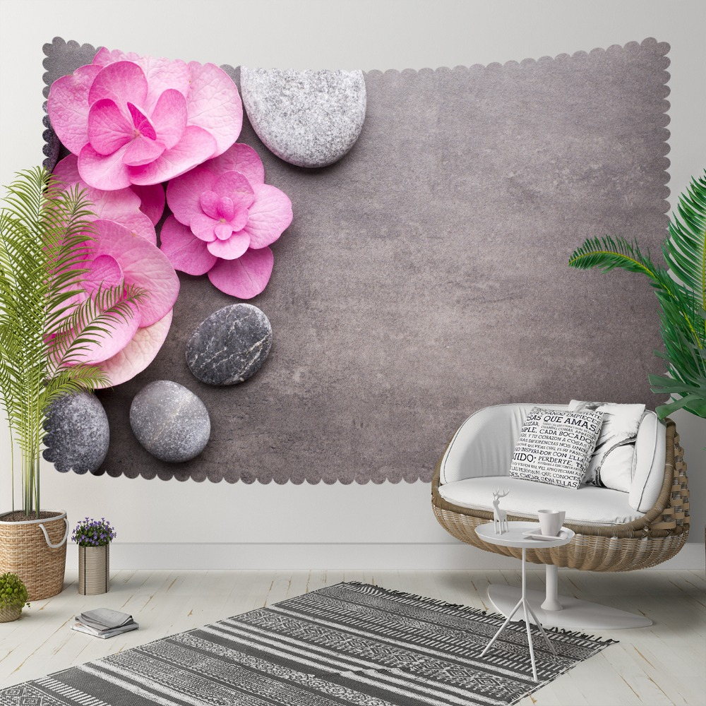 Else Pink White Rose Leaves Gray Spa Stones 3D Print Decorative Hippi Bohemian Wall Hanging Landscape Tapestry Wall Art