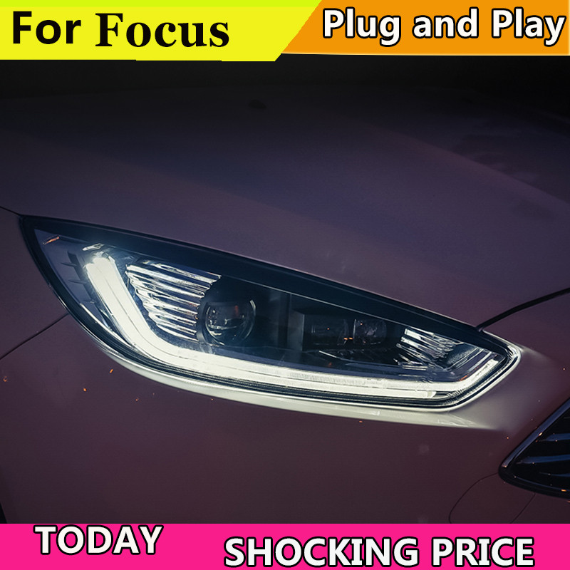 Car Styling for Ford focus Headlights 2015 2016 2017 2018 for focus Headlight DRL Lens Double