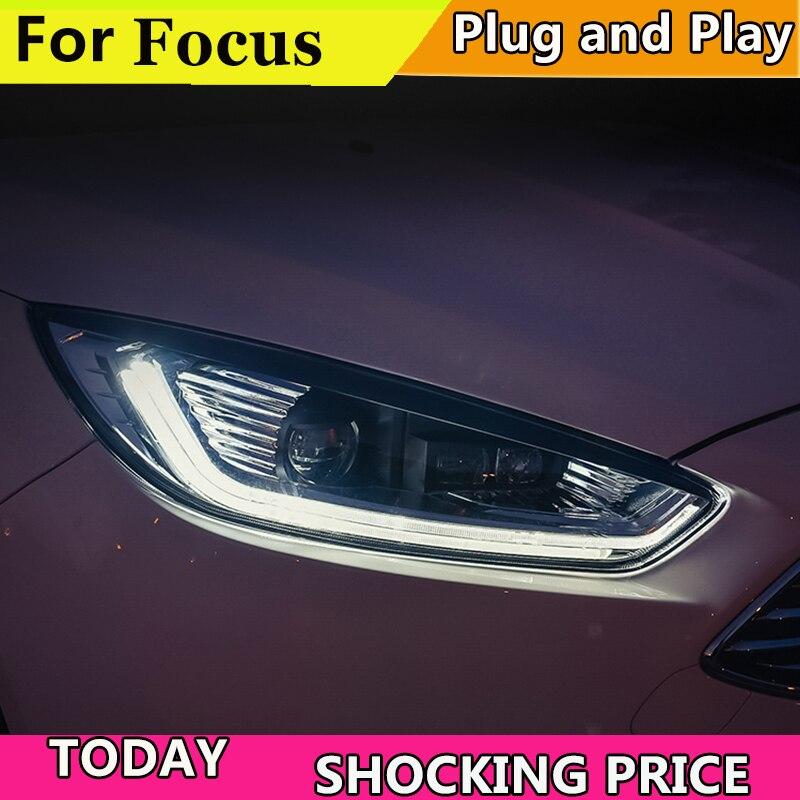 Car Styling for Ford focus Headlights 2015 2016 2017 2018 for focus Headlight DRL Lens Double Beam H7 HID Xenon bi xenon lens