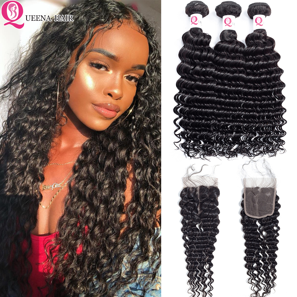 Queena Hair Raw Indian Deep Wave Bundles With Closure Remy Human Hair Bundles And Closure Curly  Hair Weave Bundles With Closure