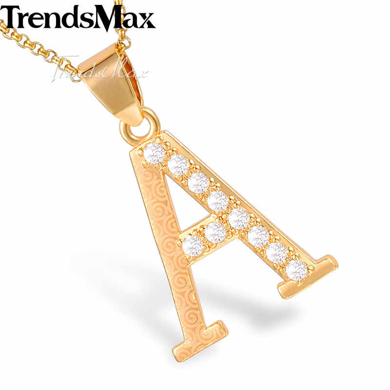 Trendsmax A-Z 26 начальный кулон из букв Шарм для женщин девушек розовое золото буквы-подвески Дружба Любовь ювелирные изделия подарок KGPM07