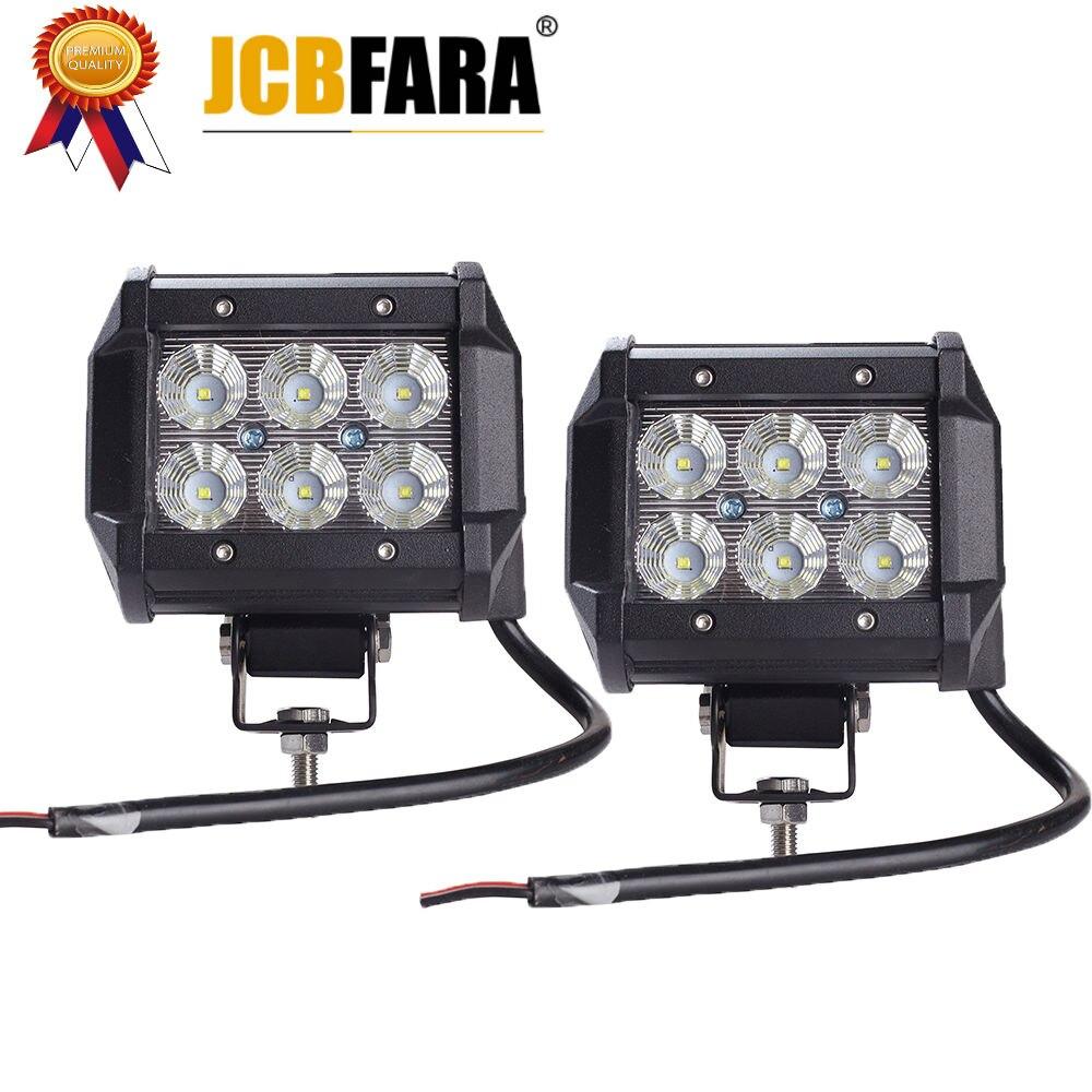 2 piezas de coche, barra de luz Led 18 W lámpara de luz de Trabajo Cree Chip LED 4