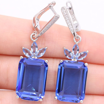 44x13mm Pretty 18x13mm Created Rich Blue Violet Tanzanite White CZ Womans Gift Silver Earrings
