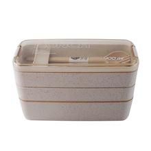 New Three Layers Lunch Box Set Japanese Microwavable Wheat Straw Boxes Portable Food Container For Kids School Dinner