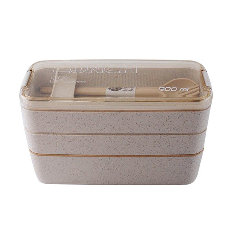 Nieuwe Drie Lagen Lunch Box Set Japanse Microwavable Tarwe Stro Lunchboxen Draagbare Voedsel Container Voor Kids School Diner Doos-in Lunchdoosjes van Huis & Tuin op title=