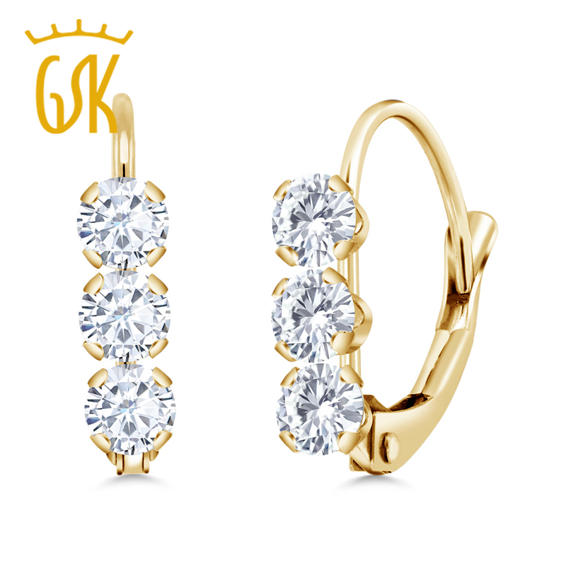 Gemstoneking 14k Yellow Gold Fine Jewelry 0 60 Ct Round White Created Moissanite Leverback Earrings For Women In From Accessories On