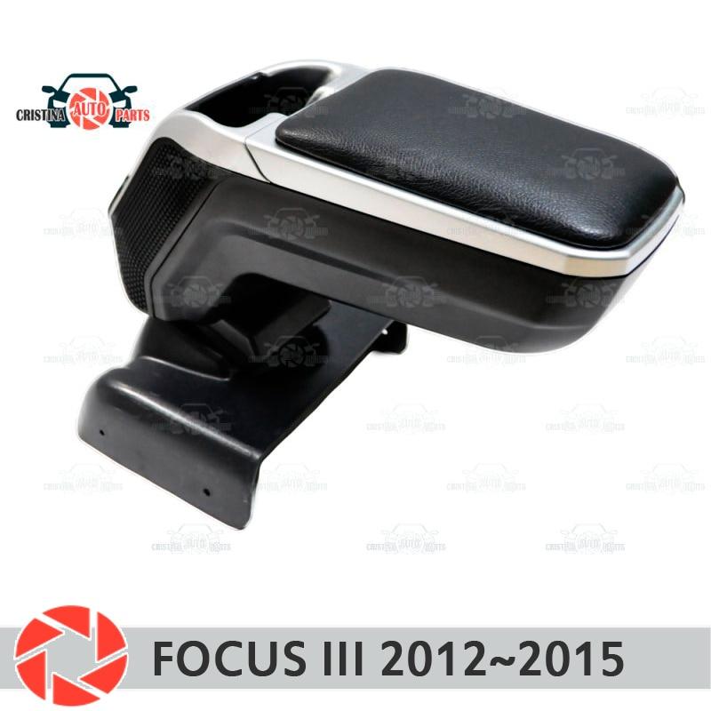 Armrest for Ford Focus 2012~2015 car arm rest central console leather storage box ashtray accessories car styling m2 car door armrest storage boxes for ford focus 2009 2012 khaki pair