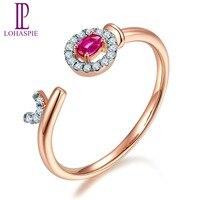 LP обручальные кольца 9 к 10 к 14 к 18 К розовое золото и натуральный Драгоценный Рубин и бриллианты ювелирные украшения по индивидуальному зака