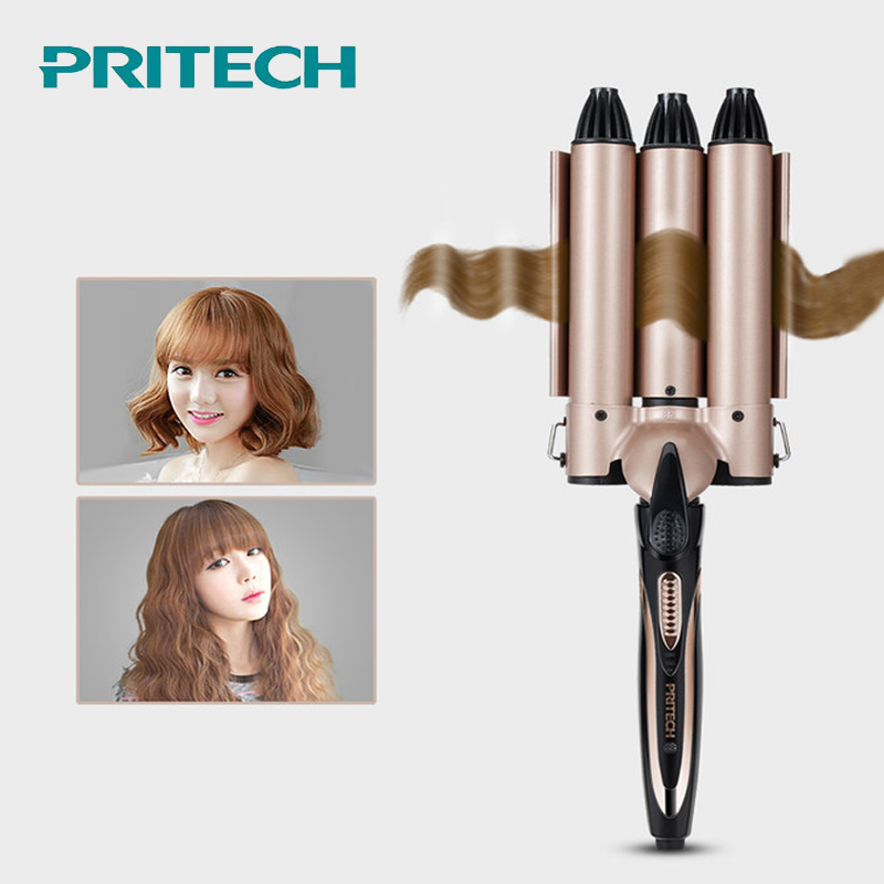 PRITECH Professional Curling Iron Ceramic Triple Barrel Hair Curler Irons Hair Wave Waver Styling Tools Hair Styler #815 22 mm professional 110 240v hair curling iron curl triple barrel hair curler ceramic hair waver styling tools hair styler curls