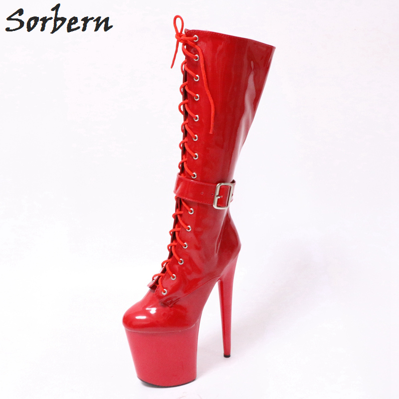 Sorbern Fashion Platform Boots Spike High Heels Lace Up Custom Wide Leg Boots For Women Thick Sole Shoes Autumn Women Size 43 trendy colorful printed high waist wide leg pants for women