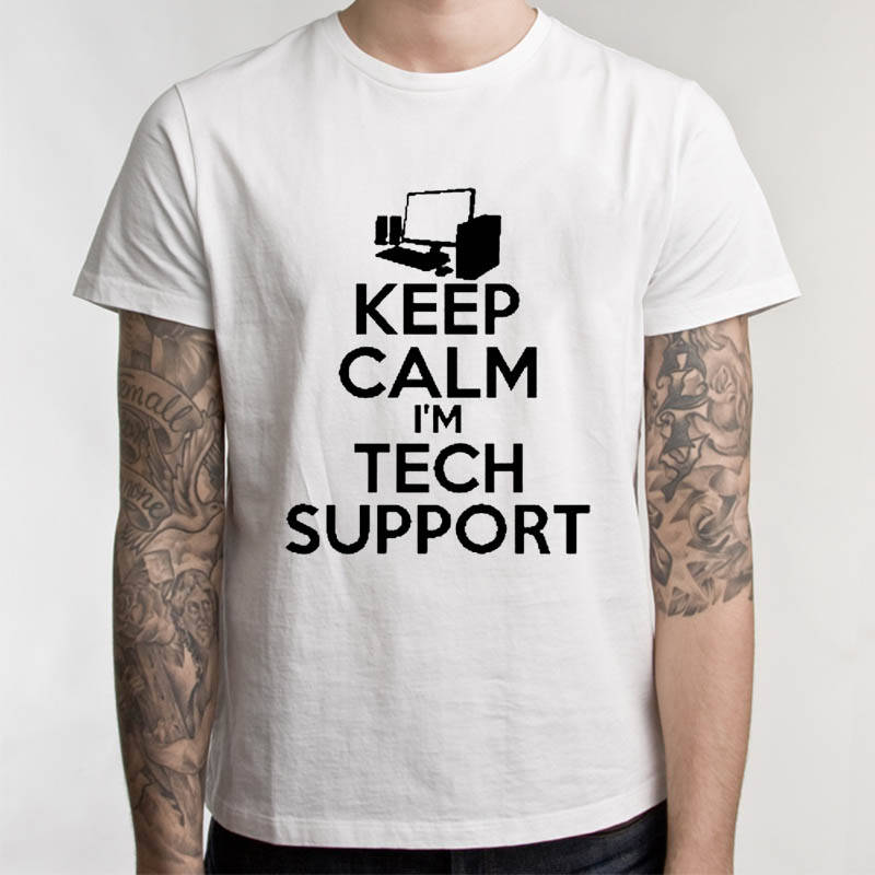 Tee Shirt Shop Short Sleeve Printing Machine O-Neck Mens Tech Support Geek T Shirts