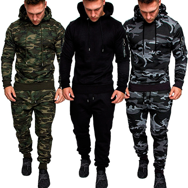 PADEGAO Men's Set Camouflage Hoodies And Sweatpants Set Casual Sportswear Suit Mens Sporting Tracksuit Hoody Top+trousers Set