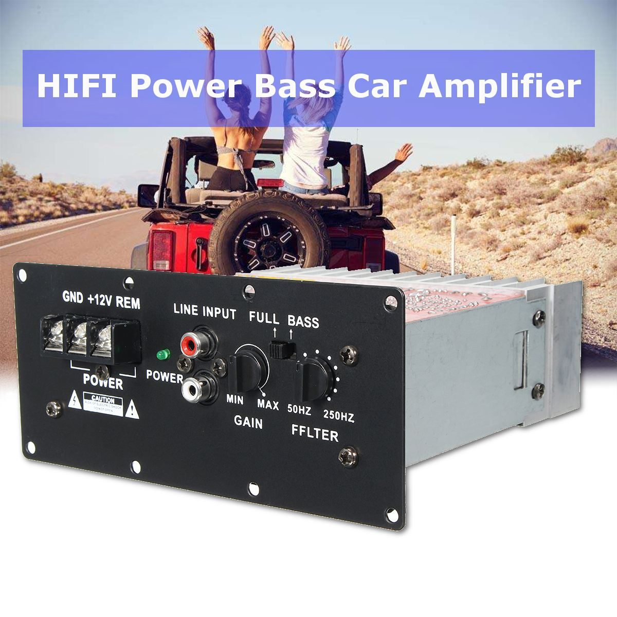 100w 12v Car Hi Fi Bass Power Amplifier Powerful 6 12inch