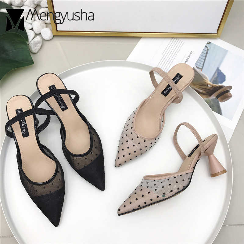 European Brand Designer Lace Sandals Polka Dot Lace Cat Heels Slippers Women Belt Wedges Sandalias Summer Shoes Ladies Flipflops