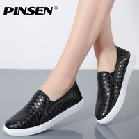 PINSEN Spring Women Casual Loafers Shoes Weave PU Leather Breathable Flat Fashion Platform Sandals Slip On