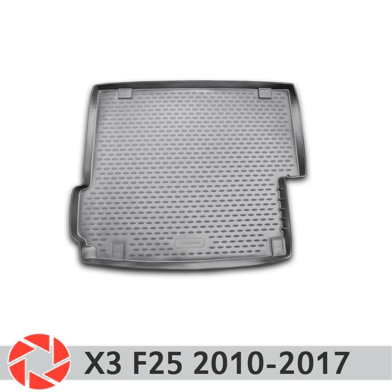 Para BMW X3 F25 2010-2017 tronco mat tronco tapetes do assoalho antiderrapante poliuretano proteção sujeira interior do carro tronco styling