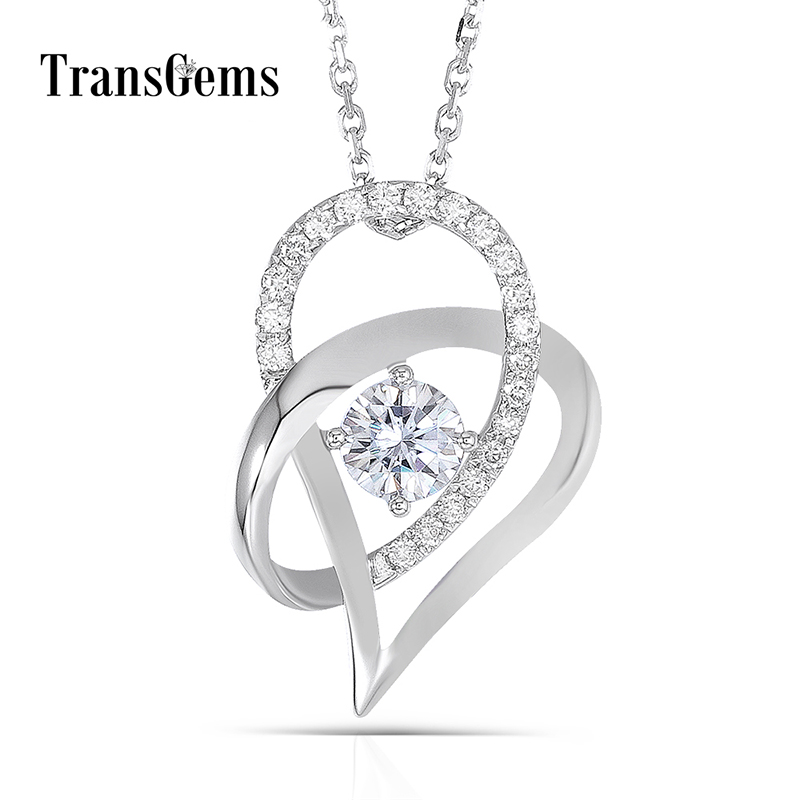 Transgems 18K White Gold 750 5MM F Color Moissanite Round Brilliant Heart Shaped Pendant Necklace for Women Free Shipping 18k 750 white gold pendant gh color round lab grown moissanite double heart necklace diamond pendant necklace for women jewelry