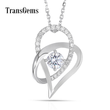 Transgems 18K White Gold 750 5MM F Color Moissanite Round Brilliant Heart Shaped Pendant Necklace for Women Free Shipping