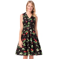 Women's picture new cherry print professional dress baby waist lapel hepburn dresses for sale