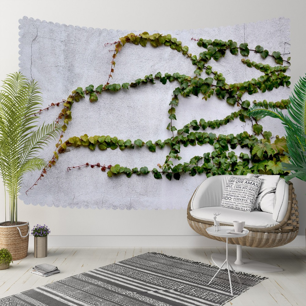 Else Green Ivy Leaves Floral Gray Stone Wall 3D  Print Decorative Hippi Bohemian Wall Hanging Landscape Tapestry Wall Art