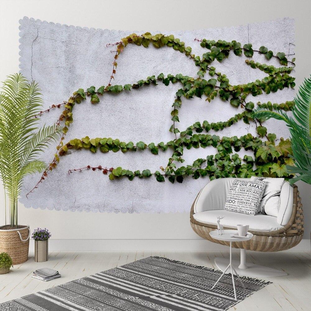 Indziej zielony ivy liści Floral szary mur 3D druku dekoracyjne Hippi czeski ścianie wisi krajobrazu gobelin ściany sztuki