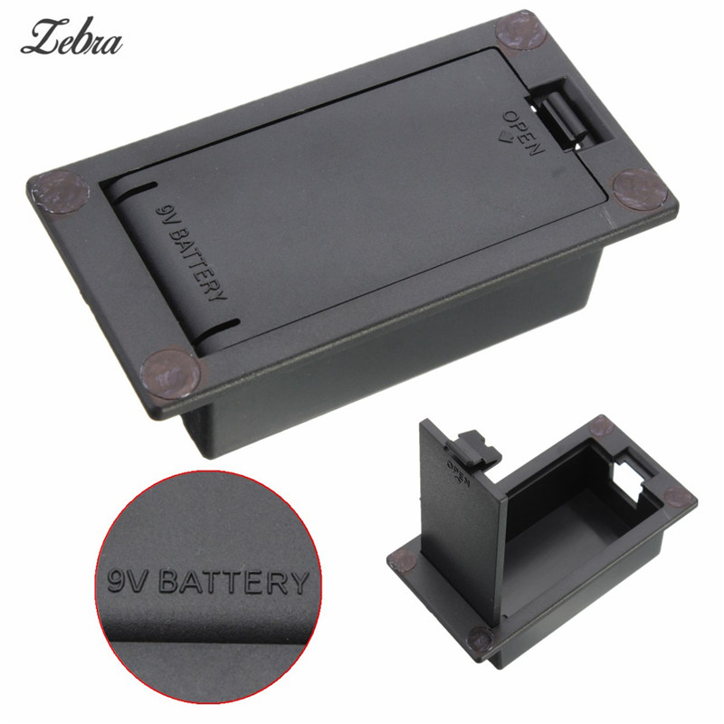 Zebra Black Flat Mount 9V Battery Case Box For Electric Guitar Bass Battery Case Box Compartment Storage Cover