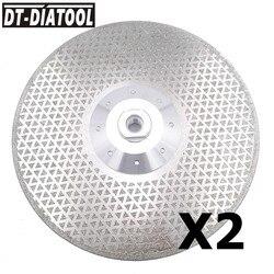 DT-DIATOOL 2 stücke 9 /230mm Galvani Diamant Schneiden Sägeblatt Schleifen Disc Doppel Seiten M14 Flansch für schneiden Marmor Fliesen