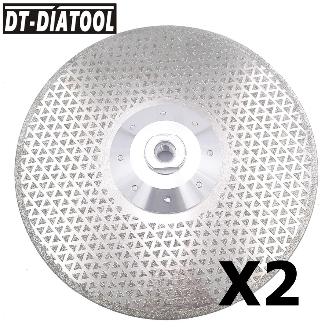 DT-DIATOOL 2pcs 9/230mm Electroplated Diamond Cutting Saw Blade Grinding Disc Double Sides M14 Flange for Granite Marble v groove electroplated diamond grinding wheel for tungsten carbide stone agate megmatic material grinding e014