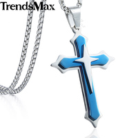 Trendsmax 3 Layer Knight Cross Mens Pendant Necklace Chain Stainless Steel Round Box Link Silver Gold