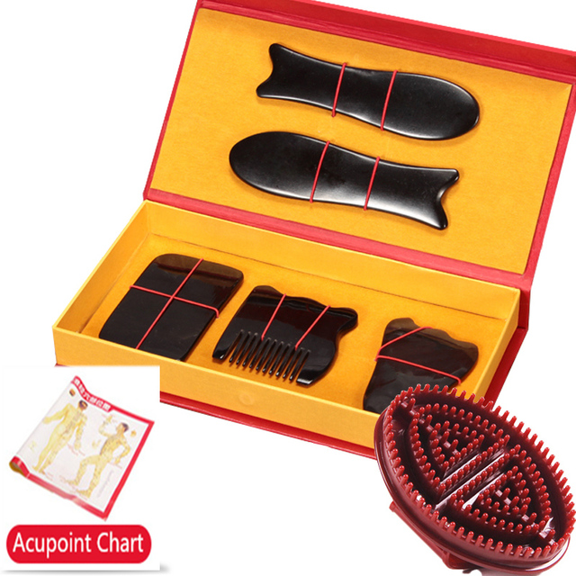 Buffalo Horn Gua Sha Massage Tool 5 Pcs Set