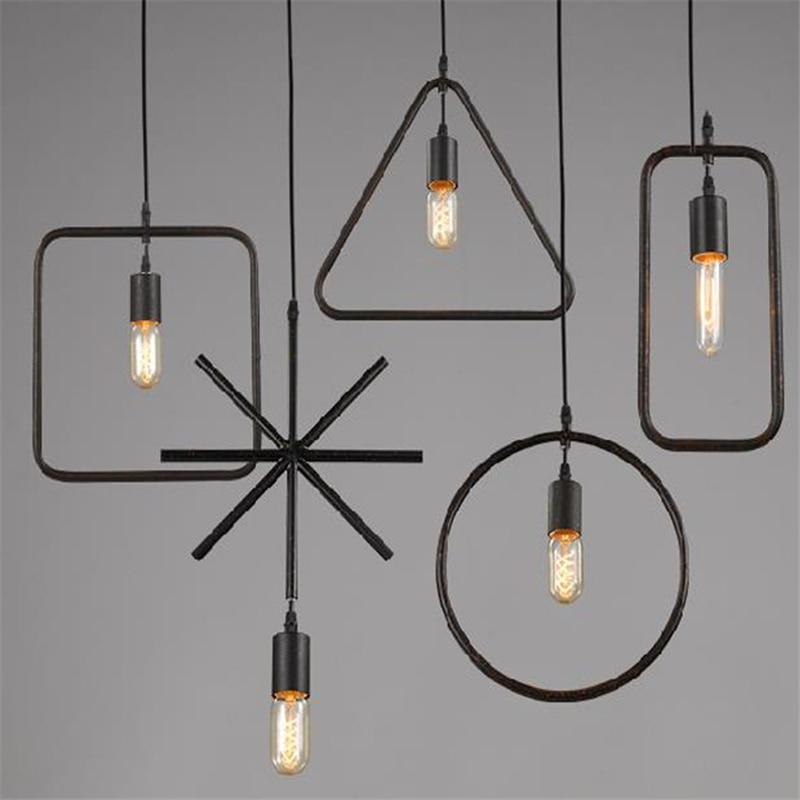 Işıklar ve Aydınlatma'ten Kolye ışıkları'de LED E27 Siyah Sanat Kolye Işıkları Ev Dekorasyon Modern Minimalist Asılı Işıklar Sanat Armatürleri Ambilight Ferforje Lamba Avize