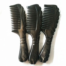 MC Brand Super Quality Handmade Black Buffalo Ox Horn Comb For Hair Fine Lateral Teeth Thicken Comble Tangle For Combing Hair Combs