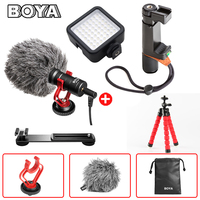 Microphone + Shoe Mic Bracket + Led Video Light + Flexible Tripod Support Stand for iPhone X 8 7 6s 6 Plus Samsung Vlogging Gear
