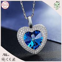 Top Quality Shinning Blue Famous Crystals Ocean of Love Theme 925 Real Silver Heart Pendant Necklace For Girlfriend