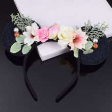 Daisy Rose Minnie Mouse Ears Flower Headband Women Cat Ear Hairband Kid Girl Woman Celebration Party Wedding Hair Accessories цена