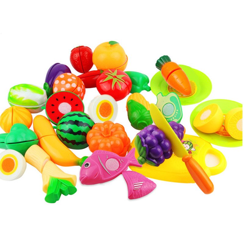 24Pcs/Lot Food Kitchen Kids Toys Plastic Toy Vegetables And Fruits Cutting Classic Pretend Play Simulation Educational Toy