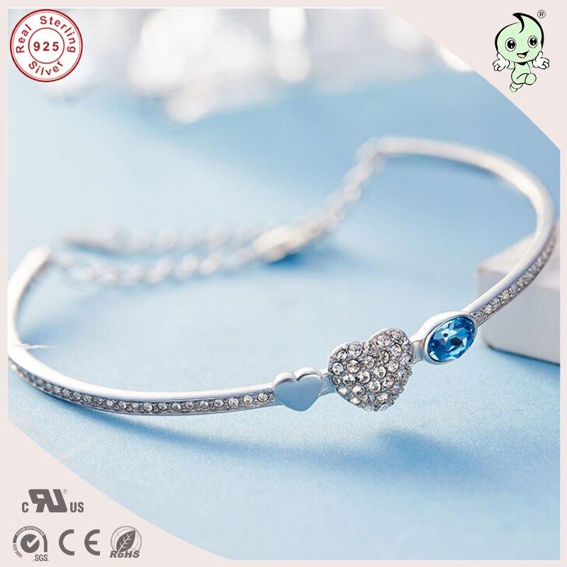 Bracelet de bijoux en argent de style coréen populaire amour coeur pierre de cristal pavage 925 bracelet en argent réel pour dames