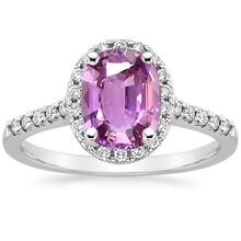 ANI 18K White Gold (AU750) Women Wedding Ring Certified Natural Pink Sapphire Oval/Rectangle Shape Engagement Diamond Halo