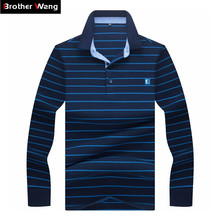 2019 Spring New Men's Business Casual POLO Shirt Fashion Striped Embroidered Long Sleeve Polo Shirt Male Brand Clothes