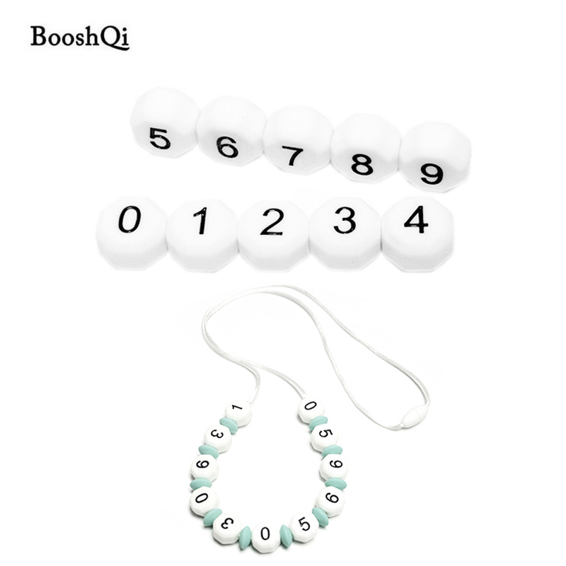 100pcs Silicone Arabic Number Beads for Birthday on Pacifier Chain Clips 15MM Chewing Digital Beads for Baby Necklace Teethers