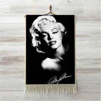Sonst Schwarz Grau Weiß Schöne Marilyn Monroe 3D Druck Dekorative Geschenk Wand Kunst Seil Hängen Teppich Teppich Tasseled Tapisserie-in Wandteppich aus Heim und Garten bei