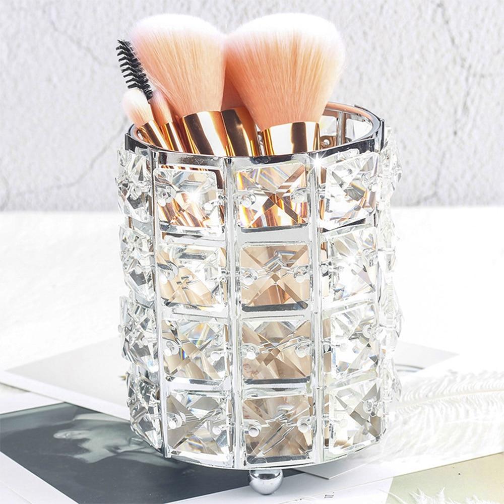 Europe Metal Makeup Brush Storage Tube Eyebrow Pencil Holder Makeup Organizer Racks Crystal Jewelry Storage Box