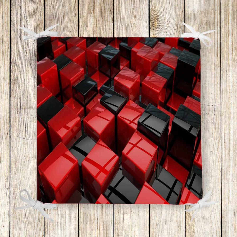 Else Black Red Cubes Box Abstract 3d Print Chair Pad Seat Cushion Soft Memory Foam Full Lenght Ties Non Slip Washable Zipper