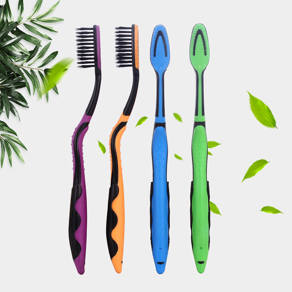 4pcs/pack Bamboo Toothbrush Black Double Ultra Soft Toothbrushes Professional Dental Nano-antibacterial Tooth Brush for Adults 1