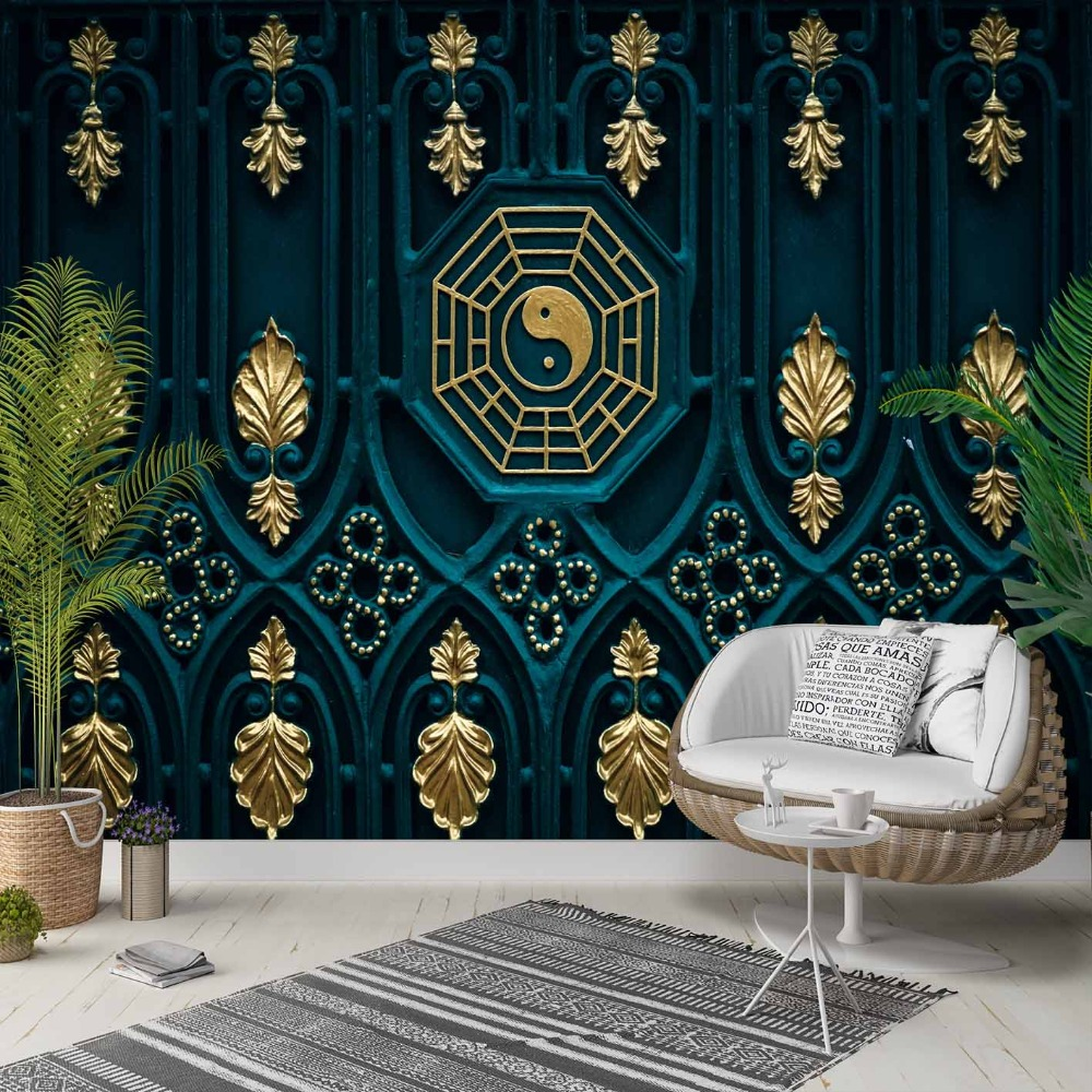Else Green Ethnic Golden Yellow Floral Peace 3d Photo Cleanable Fabric Mural Home Decor Living Room Bedroom Background Wallpaper